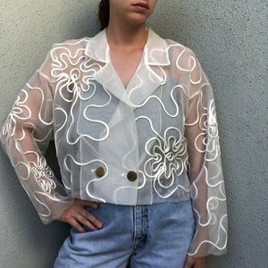 [vintage] sheer avant-garde white ribbon jacket